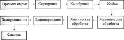 Схема производства замороженных овощей и плодов